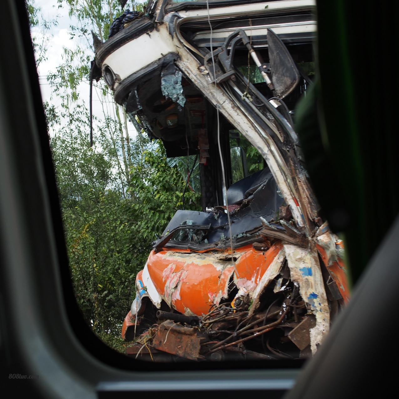 Crazy bus crash we drove by
