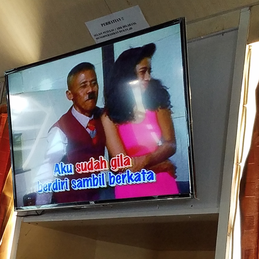The entertainment was pretty bad. We don't want to sound mean, but it was really difficult to listen and watch 1960s Indonesian karaoke and movies. The guy in this song looks like someone familiar..