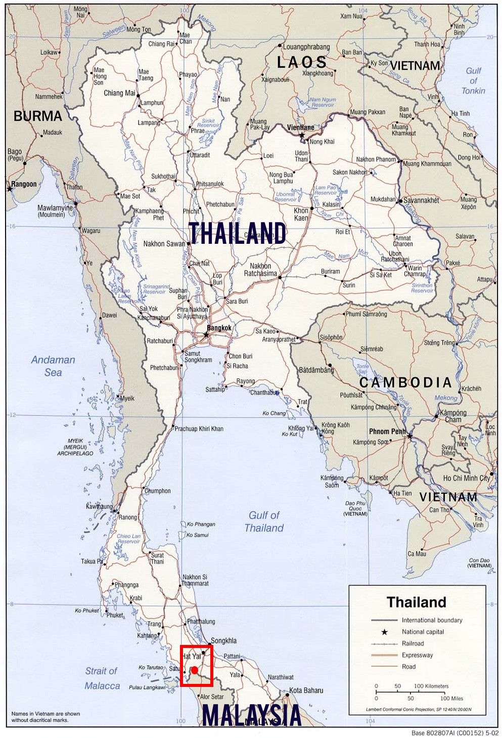 Red dot is the southern border crossing, Hat Yai - Padang Besar (courtesy of mapcruzin.com)
