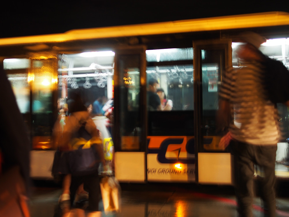Sorry for the blurry image quality, this is the bus we ran to get from the airport to the bus terminal in the city.