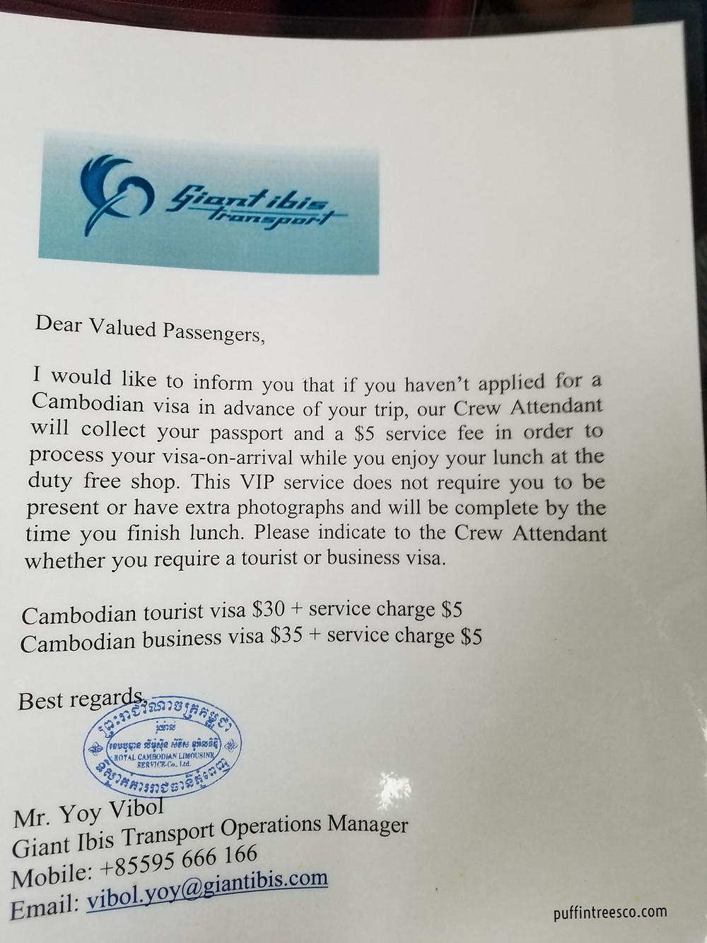 The letter explaining the fee