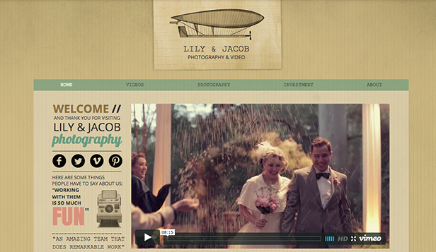 Events website templates – Wedding Videographer