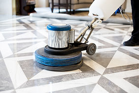 polishing marble floor in modern office