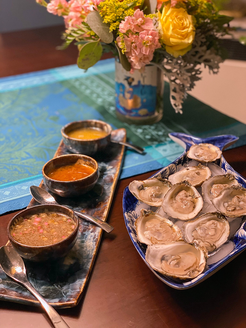 Oysters on the Half Shell with Gin Mignonettes