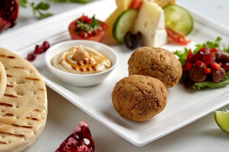 Food photography, Arabic falafel and hummus