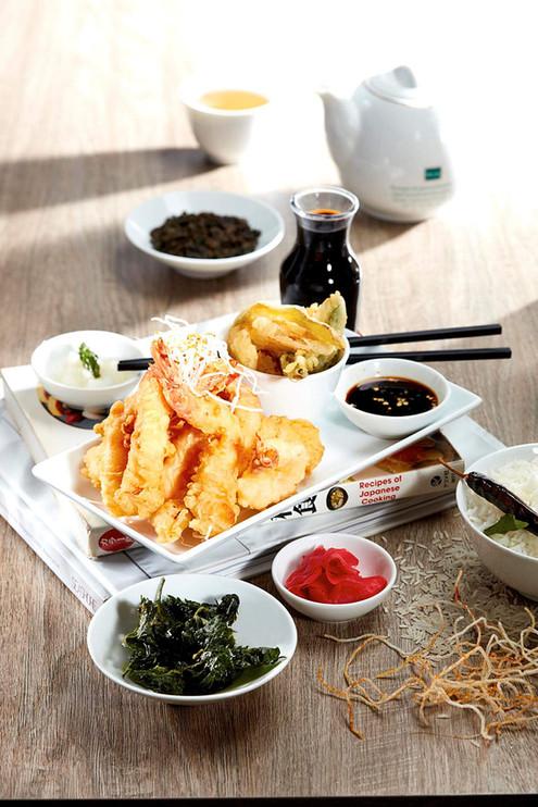 Food photography Japanese style crumbed prawns
