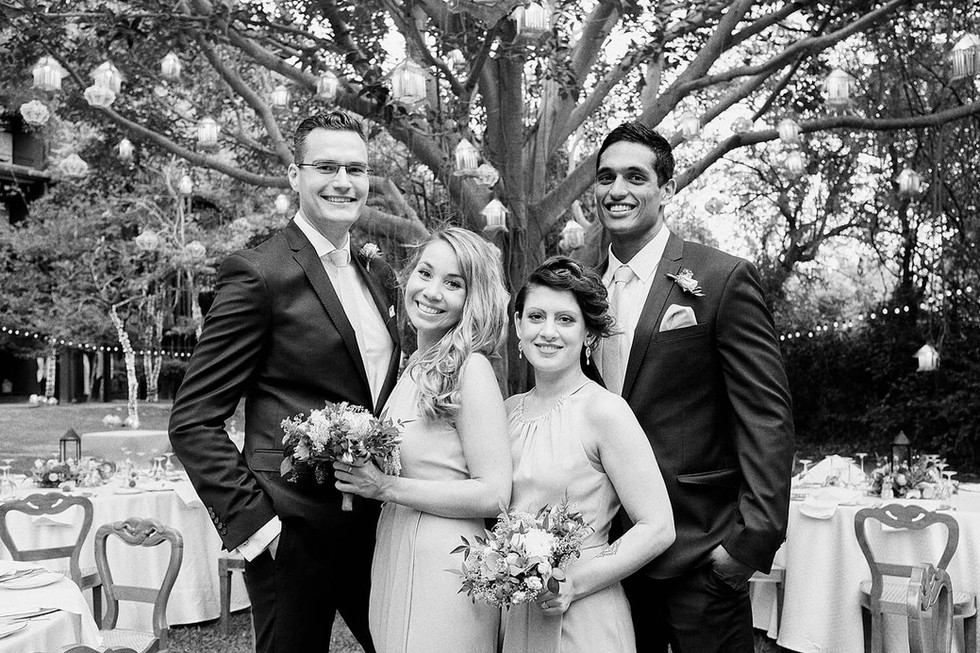 Wedding photography Tasmania, bridal party in garden