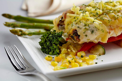 Food photography, Cannelloni with asparagus and corn