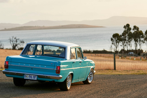 Wedding photography, classic holden in late afternoon light on the Tasman peninsula