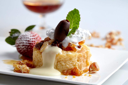 Food photography, bread pudding and custard
