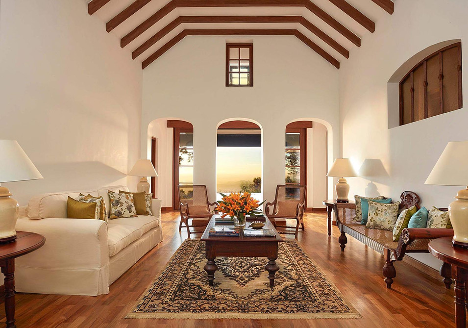 Architectural photography, interior of country villa overlooking sunset in the valley