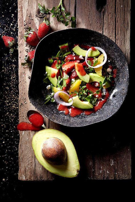 Food photography, avocado salad in rustic setting