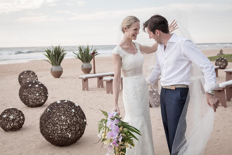 Wedding photography, couple at beach wedding