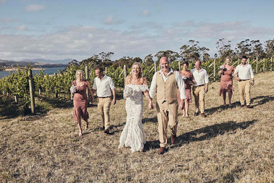 Wedding photography, couple and retinue walk towards camera in a vineyard