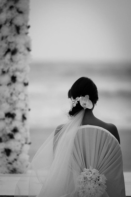 Wedding photography Tasmania. detail of bride from behind