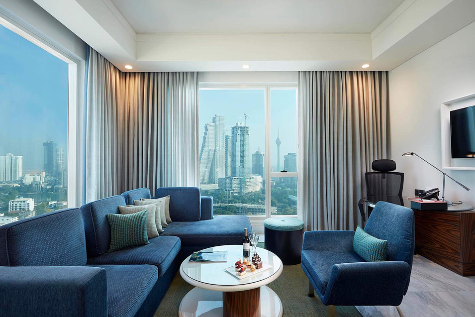 Architectural photography, interior of modern hotel room lounge overlooking city