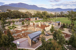 Aerial photography, legacy park and queens domain with Mount Wellington in the background, Hobart