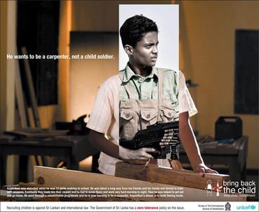 UNICEF anti child soldier ad campaign - carpenter
