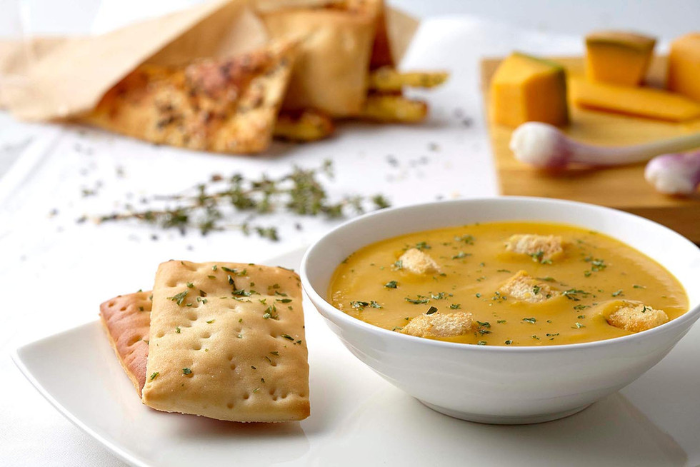 Food photography pumpkin soup and bread