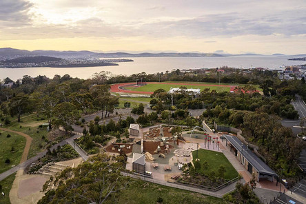 Aerial photography, legacy park and queens domain with the river Derwent in the background, Hobart