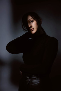 Studio portrait of dramatic lighting on model