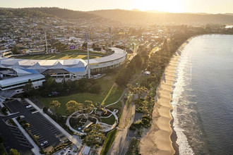 Aerial photography Blundstone Arena and Bellerive beach at dawn