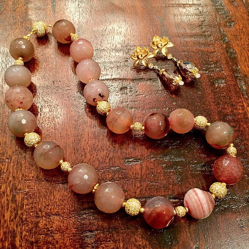 Candy Agate & Simulated Diamond Necklace
