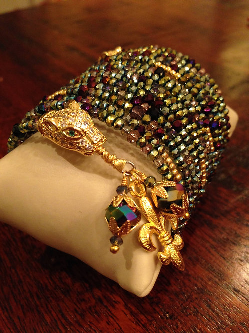 """Jardin de la Jungle Panthère"" Crystal Wrap Bracelet"