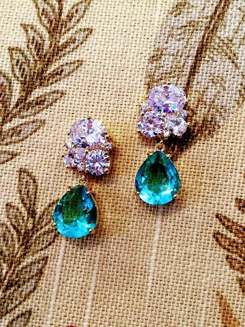 Red Carpet Simulated Paraiba Earrings
