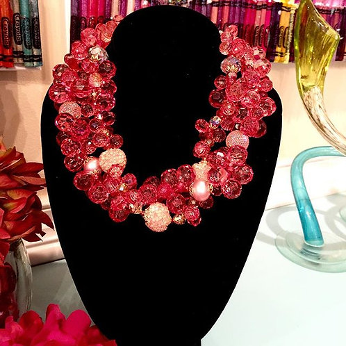Rich Raspberry Torsade Necklace