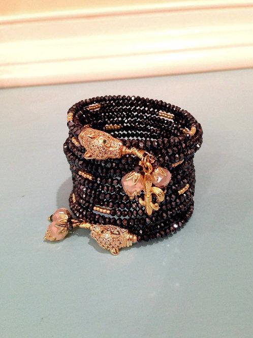 """""""Soirée Panthère de Minuit"""" Crystal Wrap Bracelet"""