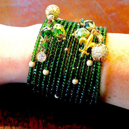 Tsavorite Crystal Wrap Bracelet with Israeli Gold