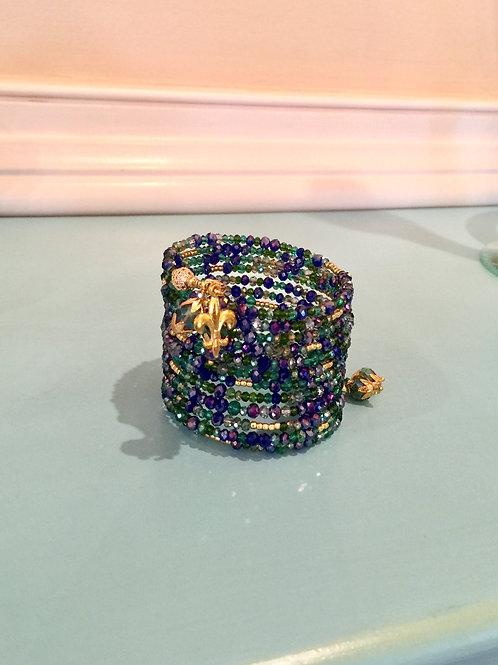 """""""Bleu et Vert"""" Crystal Wrap Bracelet"""