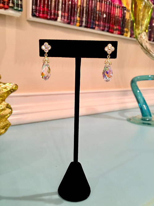 Simulated Diamond and Swarovski Briolette Earrings