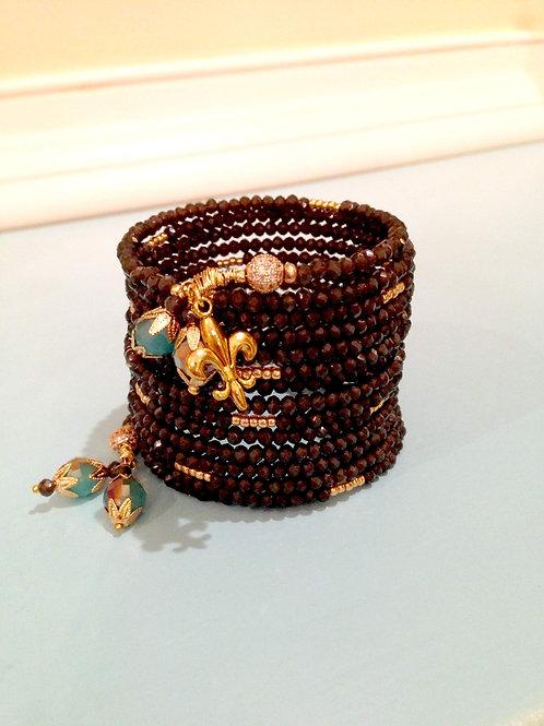 """Gris Anthracite"" Crystal Wrap Bracelet"