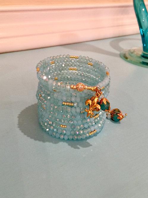 """Mystique Aqua Jade"" Crystal Wrap Bracelet"""