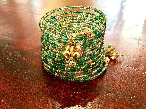 """""""Mangez Vos Verts"""" Crystal Wrap Bracelet"""