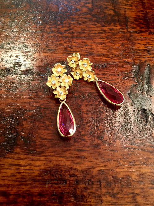 "Raspberry Crystal ""Forget Me Not"" Earrings"