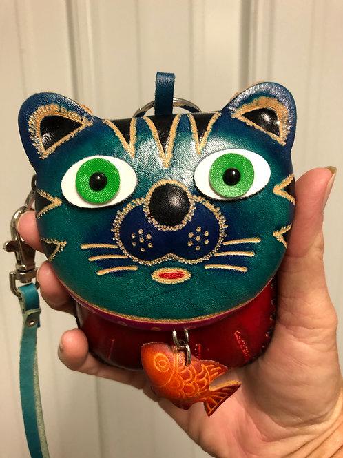 Leather Cat Wristlet
