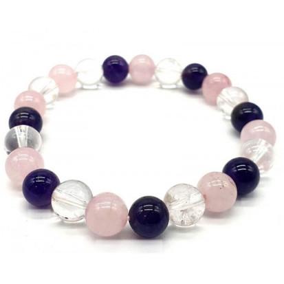 "Bracelet 8mm ""amethyste, cristal, quartz rose"""