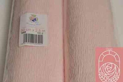 569 Бумага гофрированная бело-розовая 180 гр