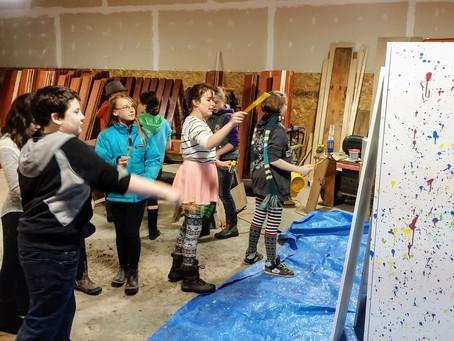 Splatter Painting in the Workshop
