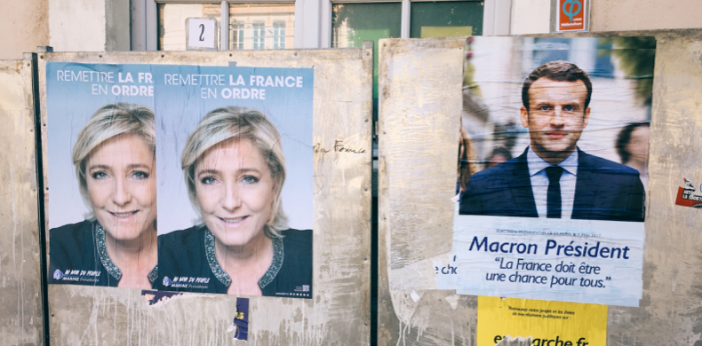 Image Credit: Joe Bourke (Campaign posters for Marine Le Pen and Emmanuel Macron in Lyon, France)