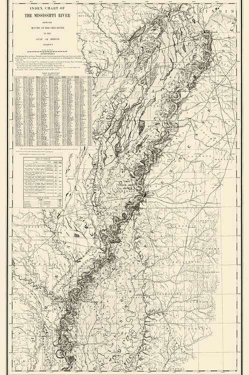 Mississippi: Index Chart of the Mississippi River, 1859-1884