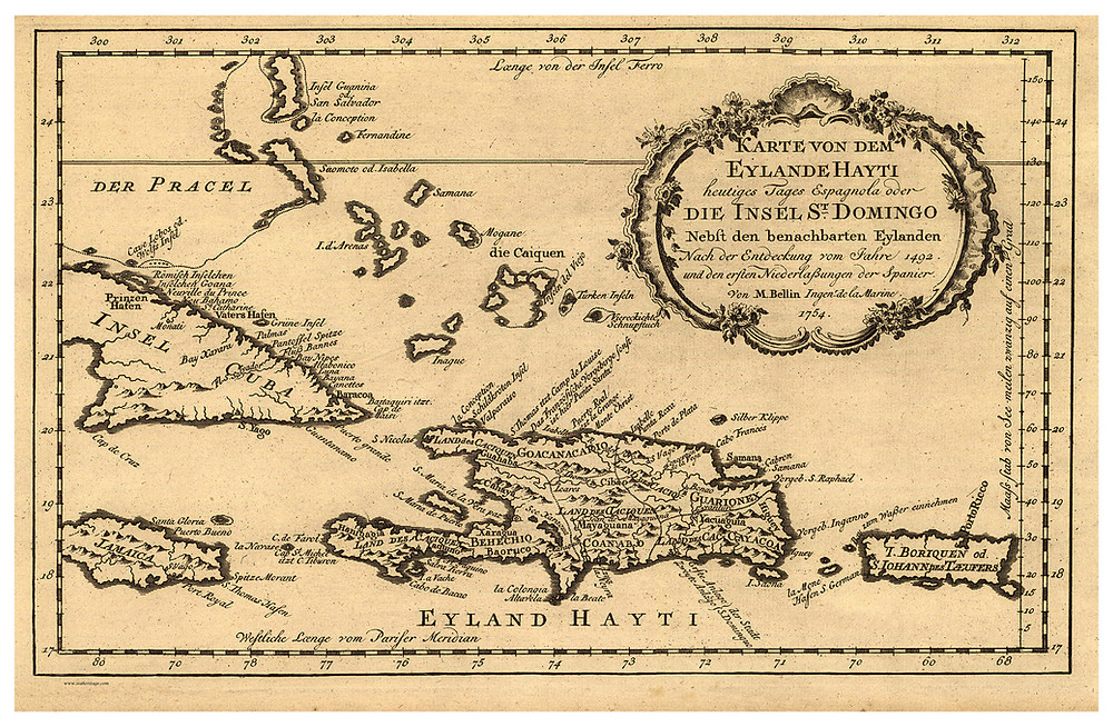 Caribbean, featuring Cuba, Haiti, and Jamaica 1754