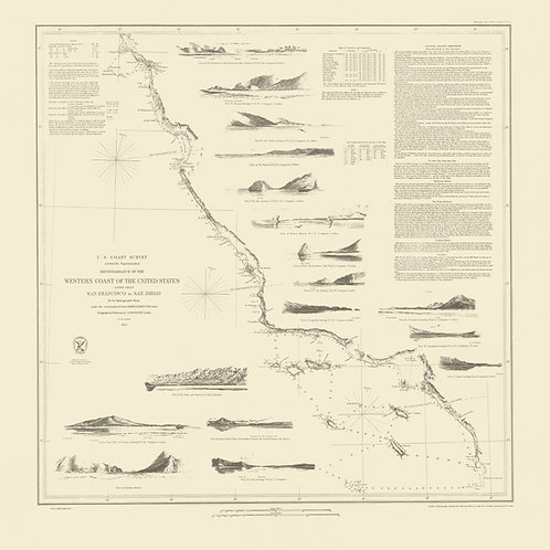 California: Survey of the West Coast from San Francisco to San Diego, 1853