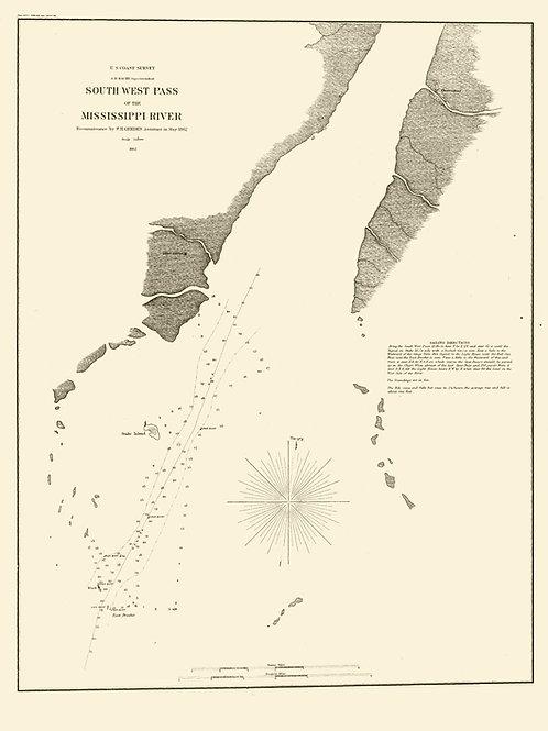 Mississippi: Southwest Pass of the Mississippi River, 1862