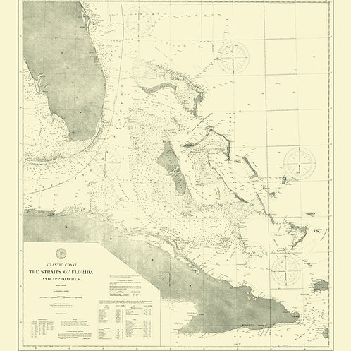 Florida: Straits of Florida including Cuba, 1893