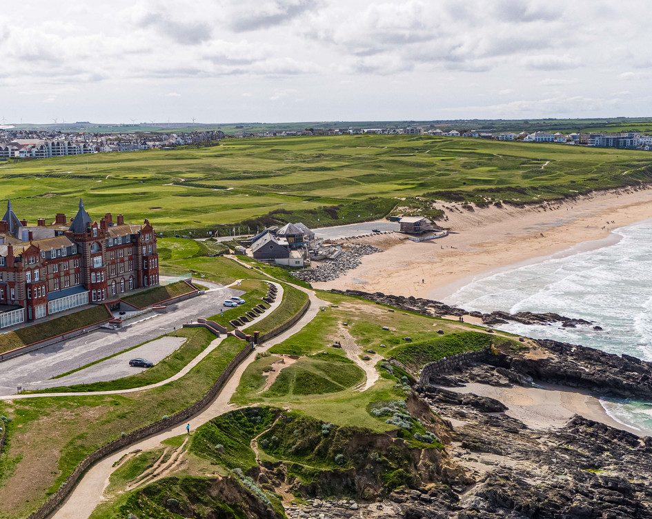 Aerial photography of Headland Hotel in Newquay, using a drone.
