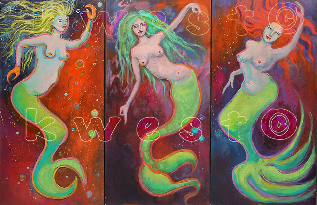 "3 COSMIC MERMAIDS 3 Paintings 18"" x 36"" Triptych"
